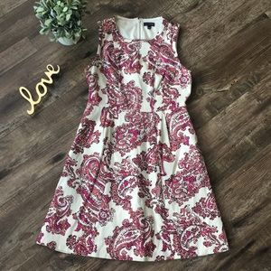The Limited Ivory and Pink Paisley A line Dress